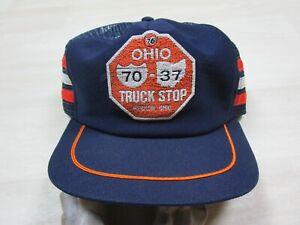 Vintage 3 Stripe 76 Gas Station Truck Stop Ohio Trucker Hat Cap Snapback Md USA