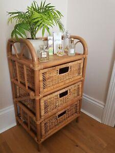 Vintage Retro Boho Bamboo Cane & Rattan 3 Drawer Storage Unit Side Bedside Table