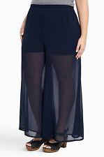 NWT Torrid Plus Size 2X Chiffon Wide Leg Pants Navy Blue (AAA41)