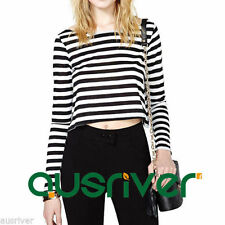 Cotton Blend Long Sleeve Striped Tops & Blouses for Women