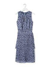 NWT Banana Republic pleated dot print polka dot blue ruffle tiered dress 0