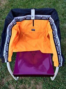 Size XL Adidas Vocal Black Orange Neon Track Top Mid Zip Jacket Mens EK4335 NWT