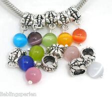 10 European Mix Katzenauge Glas Dangle Perlen Beads