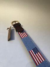 FOXCHASE RUN HANDMADE NEEDLEPOINT BELT USA AMERICAN FLAG STITCHED POWDER BLUE 34