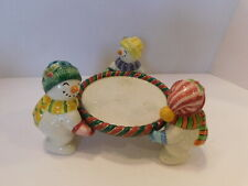 "Fitz and Floyd ''Frosty Folks"" Snowmen Pillar Candle Holder Collectible Decor"