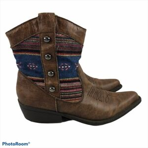 Madden Girl Slaterr Bohemian Trim Pointed Toe Western Boots Women's Size 7M