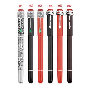 F9 Spider/ Snake Pattern Piston Fountain Pen, Red Ball Top Pen Fine Nib