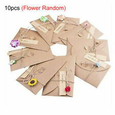 10PCS/Set Beautiful Vintage Envelope Creative Kraft Paper Envelopes &Flower DIY