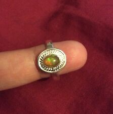 .925 Genuine Sterling SILVER  Ring Jewelry With Fire Opal (Lab) 8.5