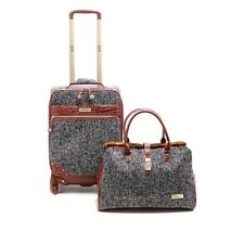 "Samantha Brown Tweed 2-piece 21"" Spinner and Shoulder Bag Set New Black"