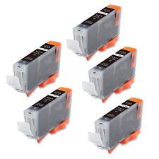 5 Black Ink Cartridge + smart chip for CLI-8 CLI-8BK MP500 MP530 MP600 MP610