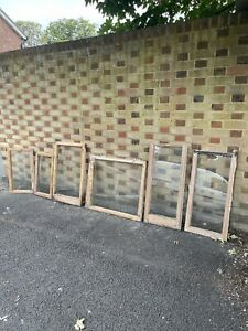 Job Lot Of Reclaimed Old Wooden Panel Windows X 6