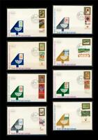 ISRAEL 1988 40th EXHIBITION  8 FDC WITH STAMPS FROM SHEET + ORIGINAL METAL PRINT