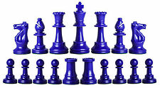 NEW Staunton Triple Weighted Half Set (17 Pieces) Chessmen -2 Queens -Royal Blue