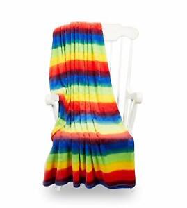 Colourful Rainbow Design Microplush Fleece Blanket Throw 120cm x 150cm