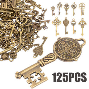 125pcs Creative Vintage Bronze Skeleton Keys Fancy Heart Bow Pendant Decor Sets
