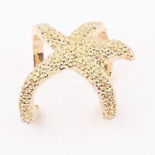 Estrella de mar abierto Wrap ajustable Ring Hombre Mujer Oro Tono