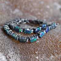 925 Sterling Silver Natural Ethiopian Fire Black Opal Cut Opal Bracelet DDL435