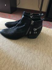 $160 AMAZING~DOLCE VITA BLACK Suede Leather MOTO Double Zip Ankle Boot 7