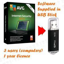 AVG Internet Security 2021 Virenschutz-Software 3 Computer optional 16gb USB