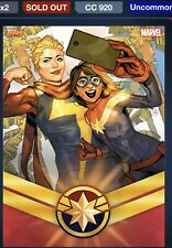 Topps Marvel Collect Captain Marvel Set Of 11 Uncommon Cards Plus Both Awards.