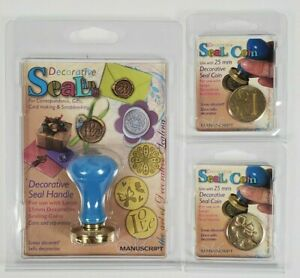 Manuscript Wax Sealing Handle With 2 Coin Stamps 25mm LOVE + CUPID New