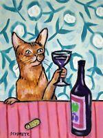 BALI CAT wine 11x14  art PRINT impressionism animals new gift