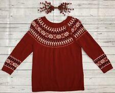 Talbots Sz MP Red Nordic Wool Crew Neck Fair Isle Snowflake Women Sweater Petite