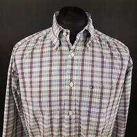 Tommy Hilfiger Mens Vintage Shirt MEDIUM Long Sleeve Regular Fit Check Cotton