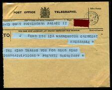 ROYAL TELEGRAM KING GEORGE 5TH 1919 BUCKINGHAM PALACE