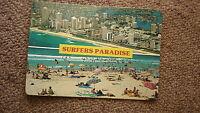 OLD AUSTRALIAN POSTCARD 1970s, SURFERS PARADISE QUEENSLAND, BEACH & HOTELS