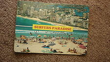 OLD AUSTRALIAN POSTCARD 1970s, SURFERS PARADISE QUEENSLAND, BEACH & HOTELS