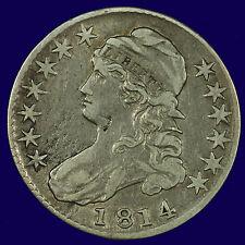 Bust Half Dollar. 1814 O-103 R1. F / VF. Die Break Reverse. Lot # 9009-632-024