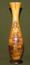 Vintage folk pyrography wood vase