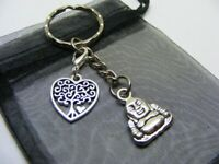 Buddha & Tree Of Life Heart Charm Keyring With Gift Bag