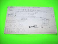 Gottlieb JACK IN THE BOX 1973 Supplement Coin Chute Pinball Machine Schematic