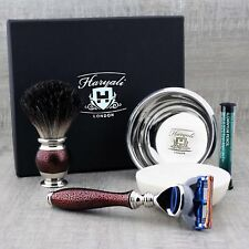 Conjunto de aspecto vintage de Afeitar Tejón Puro Brush & Gillette Fusion Maquinilla de afeitar, JABÓN & BOL