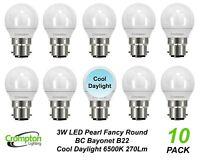 10 x Quality LED 3W Daylight Light Globes / Bulbs Bayonet B22 6500K Cool White
