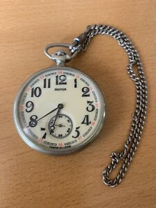 Molnija Sailing Boat Vintage USSR Russian Men's Pocket Watch - Working Condition