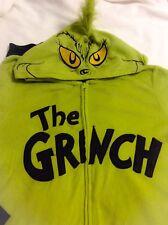 DR SEUSS Grinch Humor Adult XL 15-17 Hooded Costume Pajamas PJ Sleepwear MINT
