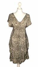 MINT VELVET 100% Silk V Neck Dress Khaki Green & Cream Leopard Print Size 14