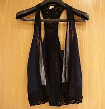 Free People navy blue and black lace vest top size XS from Urban Outfitters