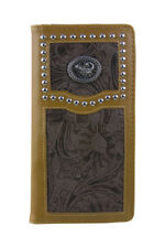 WEST WOLF BROWN VEGAN TOOLED LEATHER SCORPION EMBLEM MENS LONG BIFOLD WALLET