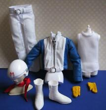 New Ken Doll clothes-Speed Racer-Faux Leather Jacket Pants Helment White Boots+