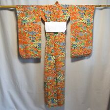 "Vintage Japanese Girl's Kimono Robe Silk Casual Child's Teen ""Pagoda on Orange"""
