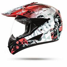 Crosshelm Quad Enduro Helm Rot mit Visier Größe L Motorradhelm Motocrosshelm War