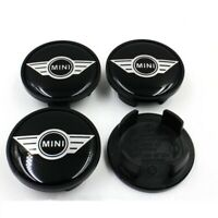 4X MINI WHEEL CENTRE CAPS HUB ALLOY BADGE EMBLEM BLACK 54mm COOPER ONE CLUBMAN S