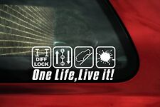 2x 'ONE LIFE, LIVE IT' funny 4x4 Off road, diff lock logo stickers, Decals