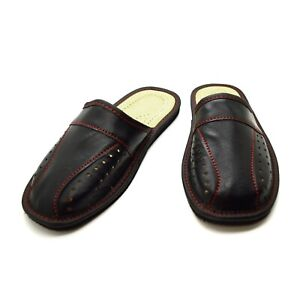 Mens Leather Slippers Shoes Comfort Sandals Slip On Mules Black Size 6-12