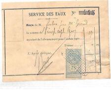 C333 c1900 France REVENUES *Service D'Eau* PERPIGNAN Document WATER SUPPLY TAX